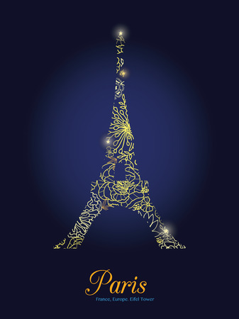 Vector Golden Floral Lace Glowing Eiffel Tower Surrounded By Flowers in Paris Silhouette At Night. French Landmark On Dark Blue Background.