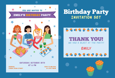 pijamada: Conjunto de la invitación del vector y Gracias cardar por adolescente fiesta de cumpleaños de Pretty con cuatro amigos que celebran. Perfecto para un evento o fiesta de pijamas pijama partido.