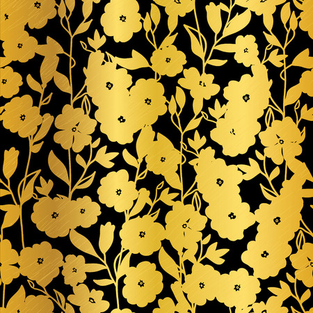 metalic texture: Vector Golden Black Flowers Blossoms Kimono Seamless Pattern Background. Great for elegant fabric, cards, wedding invitations, wallpaper. Illustration
