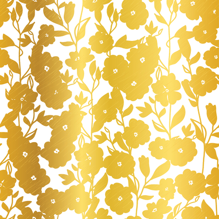 Vector Golden Blossom Flowers Summer Seamless Pattern Background. Great for elegant gold texture fabric, cards, wedding invitations, wallpaper.