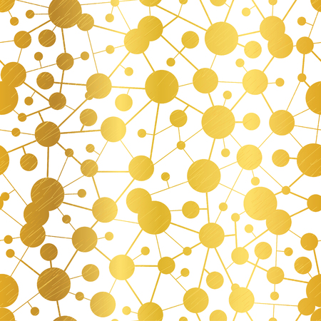 Vector Golden Abstract Molecules Network Seamless Pattern Background. Great for elegant gold texture fabric, cards, invitations, wallpaper.