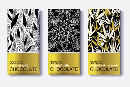 design: Vector Set Of Golden Chocolate Bars. Black, White Patterns Package Designs With Natural Leaves . Editable Packaging Template Collection.
