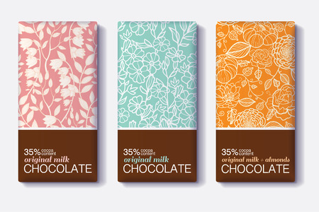 Vector Set Of Chocolate Bar Package Designs With Vintage Floral Patterns. Milk, Dark, Almond. Editable Packaging Template Collection. Фото со стока - 69815421