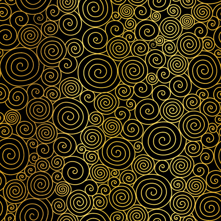 Vector Golden Black Abstract Swirls Seamless Pattern Background. Great for elegant gold texture fabric, cards, wedding invitations, wallpaper.