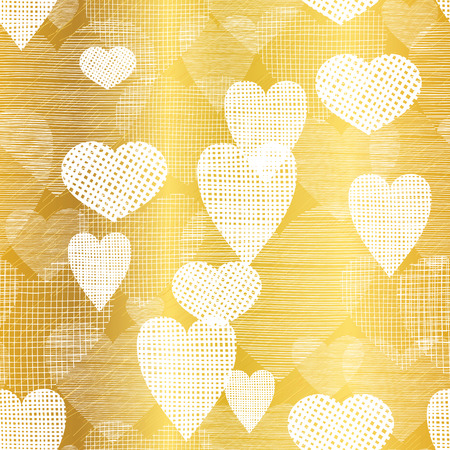 Vector Golden White Hearts Textile Texture Seamless Pattern Background. Great for elegant gold  fabric, cards, wedding invitations, wallpaper. Illustration