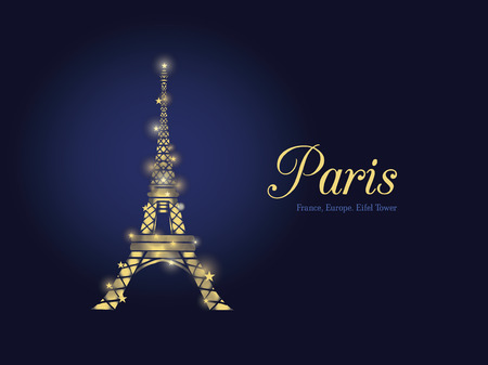 french culture: Vector Golden Glowing Eifel Tower in Paris Silhouette At Night. French Landmark On Dark Blue Horizontal Background.