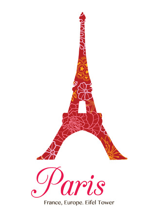 iconic architecture: Vector Red Floral Eifel Tower Paris On St Valentines Day Of Love. Perfect for travel themed postcards, greeting cards, wedding invitations.