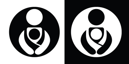 Vector Babywearing Symbols Set With Parent Carrying Baby In a Sling. Black and White Icon Style. Illustration