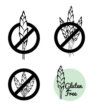 coeliac: Vector Set Of Four Gluten Free Symbols With Banned Wheat Heads Icon Designs. Great for food packaging.