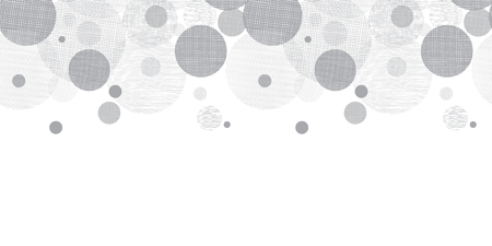Vector Silver Grey Circles Dots Horizontal Seamless Pattern Border With Fabric Texture. Perfect for neutral nursery, birthday, handmade themed designs.