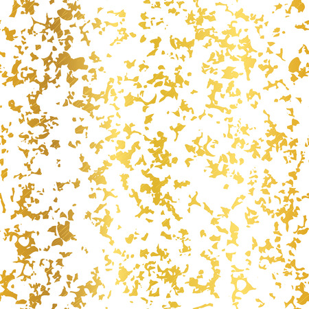 Vector Golden On White Abstract Grunge Flake Foil Texture Seamless Pattern Background. Great for elegant gold fabric, cards, wedding invitations, wallpaper, floor, kitchen tile.