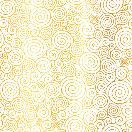 Vector Golden White Abstract Swirls Seamless Pattern Background. Great for elegant gold texture fabric, cards, wedding invitations, wallpaper. Illustration