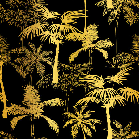 Vector Golden Black Palm Trees Summer Seamless Pattern Background. Great for tropical vacation fabric, cards, wedding invitations, wallpaper. 일러스트