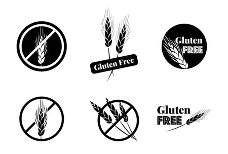 coeliac: Vector Set Of Six Gluten Free Symbols With Banned Wheat Heads Icon Designs. Great for food packaging. Illustration