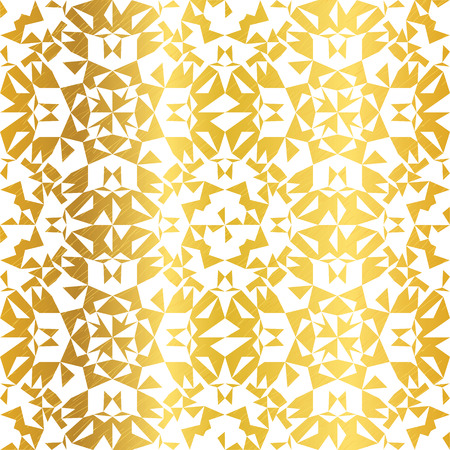 Vector Golden On White Abstract Kaleidoscope Triangles Grunge Foil Texture Seamless Pattern Background. Great for elegant gold fabric, cards, wedding invitations, wallpaper, floor, kitchen tile.