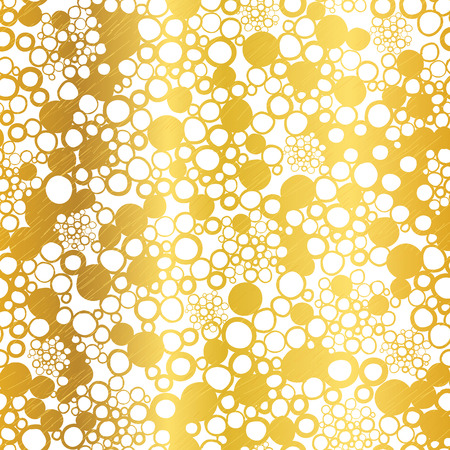 Vector Golden On White Abstract Grunge Bubbles Foil Texture Seamless Pattern Background. Great for elegant gold fabric, cards, wedding invitations, wallpaper, floor, kitchen tile. Illustration