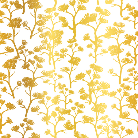 Vector Golden Asian Trees Seamless Pattern Background. Great for tropical vacation fabric, cards, wedding invitations, wallpaper.