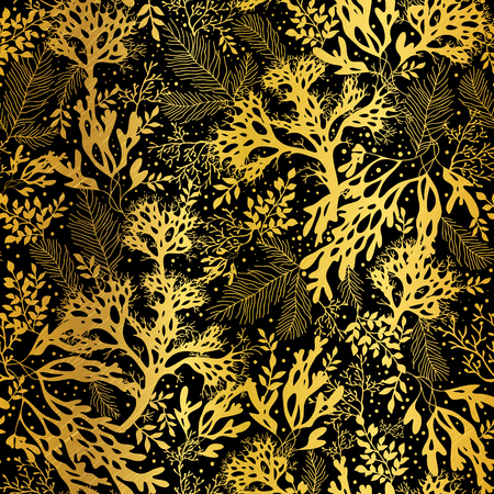metalic texture: Vector Gold Black Seaweed Texture Seamless Pattern Background. Great for elegant gray  fabric, cards, wedding invitations, wallpaper. Illustration