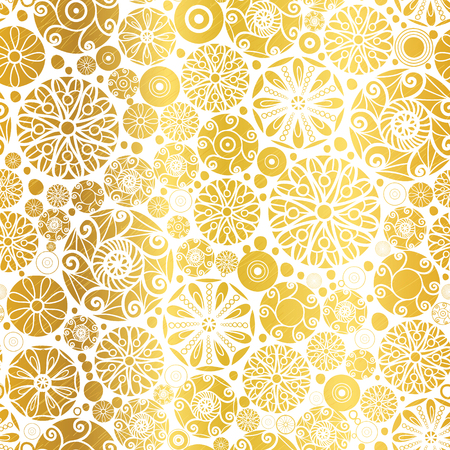 Vector Golden Abstract Doodle Circles Seamless Pattern Background. Great for elegant gold texture fabric, cards, wedding invitations, wallpaper.