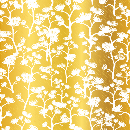 Vector Golden White Asian Trees Seamless Pattern Background. Great for tropical vacation fabric, cards, wedding invitations, wallpaper. Stock Photo