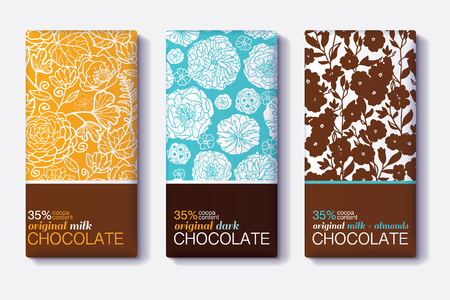 Vector Set Of Chocolate Bar Package Designs With Modern Floral Patterns. Milk, Dark, Almond. Editable Packaging Template Collection.