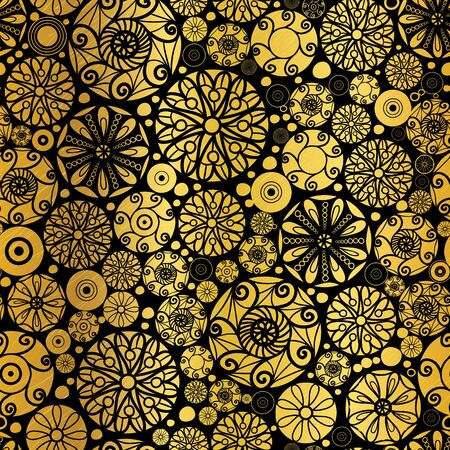 metalic texture: Vector Gold on Black Abstract Doodle Circles Seamless Pattern Background. Great for elegant  texture fabric, cards, wedding invitations, wallpaper.