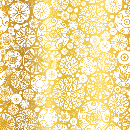 Vector Gold White Abstract Doodle Circles Seamless Pattern Background. Great for elegant  texture fabric, cards, wedding invitations, wallpaper.