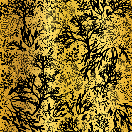 Vector Golden and Black Seaweed Texture Seamless Pattern Background. Great for elegant gray fabric, cards, wedding invitations, wallpaper.