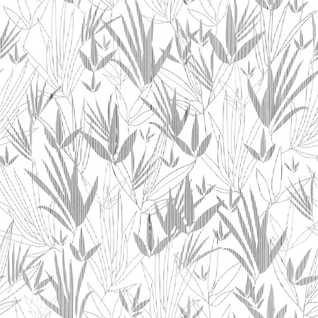 Vector Silver Grey Asian bamboo Kimono Seamless Pattern Background. Great for elegant gray texture fabric, cards, wedding invitations, wallpaper.