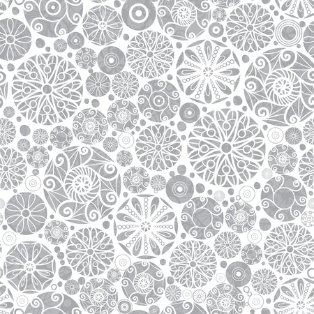 Vector Sliver Grey Abstract Doodle Circles Seamless Pattern Background. Great for elegant gold texture fabric, cards, wedding invitations, wallpaper. Illustration
