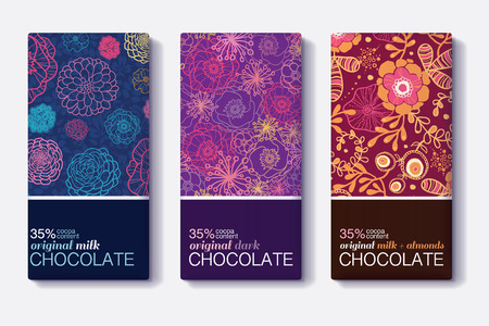 Vector Set Of Chocolate Bar Package Designs With Colorful Floral Patterns. Milk, Dark, Almond. Editable Packaging Template Collection.
