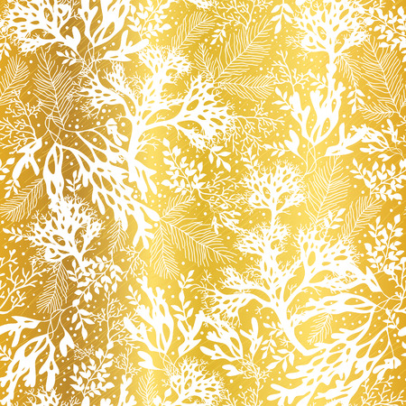 Vector Golden and White Seaweed Texture Seamless Pattern Background. Great for elegant gray fabric, cards, wedding invitations, wallpaper. 일러스트