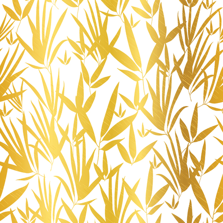 Vector Golden White Bamboo Leaves Seamless Pattern Background. Great for tropical vacation fabric, cards, wedding invitations, wallpaper.