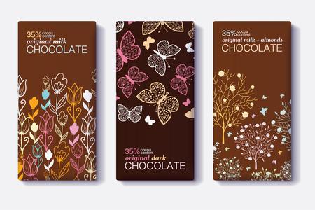 Ensemble de vecteurs de conceptions de paquet de barre de chocolat avec des frontières modernes florales et papillon.