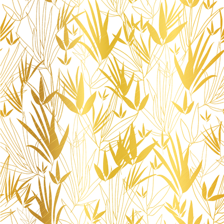 Vector Gold on White Asian Bamboo Leaves Seamless Pattern Background. Great for tropical vacation fabric, cards, wedding invitations, wallpaper.