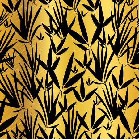 Vector Gold and Black Asian Bamboo Leaves Seamless Pattern Background. Great for tropical vacation fabric, cards, wedding invitations, wallpaper.