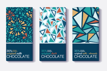 Set Of Chocolate Bar Package Designs With Vintage Geometric Mosaic Patterns. Editable Packaging Template Collection.