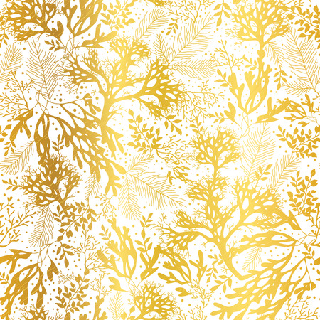 Gold and White Seaweed Texture Seamless Pattern Background. Great for elegant gray fabric, cards, wedding invitations, wallpaper. Illustration