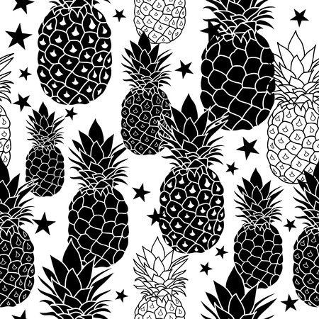 balck and white: Balck and White Hand Drawn Pineapples Vector Repeat Geometric Seamless Pattrern. great for fabric, packaging, wallpaper, invitations. Illustration