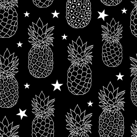 balck and white: Balck and White Pineapples Stars Vector Repeat Geometric Seamless Pattrern. great for fabric, packaging, wallpaper, invitations.