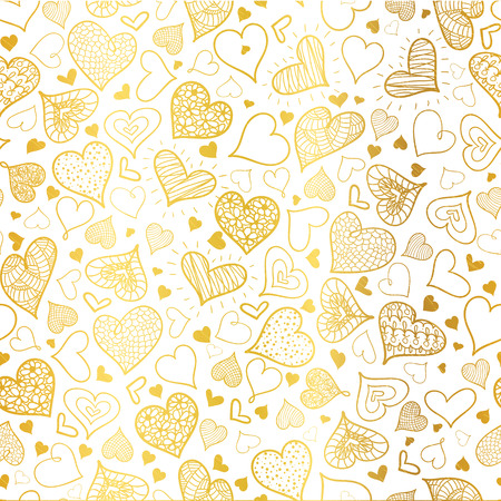 Vector Golden Doodle Hearts Seamless Pattern Design Perfect for Valentine s Day cards, fabric, scrapbooking, wallpaper.