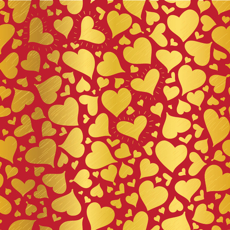 Vector Golden Red Hearts Seamless Pattern Design Perfect for Valentine s Day cards, fabric, scrapbooking, wallpaper.