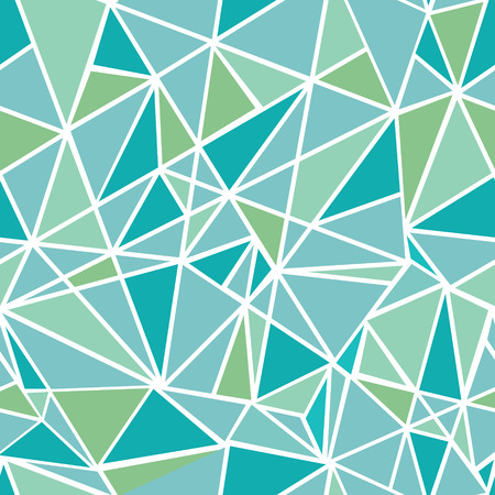 Vector Blue Green Geometric Mosaic Triangles Repeat Seamless Pattern Background. Can Be Used For Fabric, Wallpaper, Stationery, Packaging.