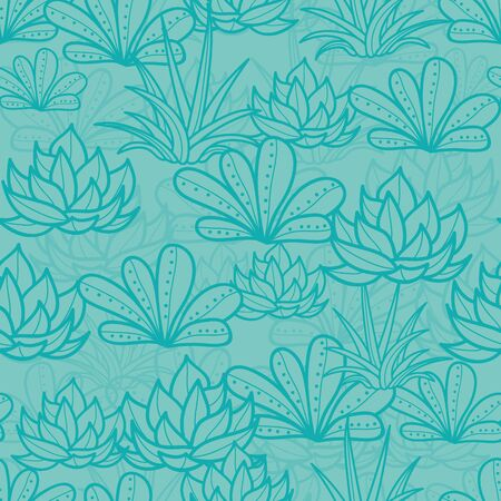 Vector Blue Seamless Repeat Pattern With Growing Succulents and Cacti. Trendy tropical design for textile, fabric, packaging, backdrops, wallpaper. Иллюстрация