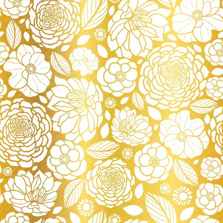 Vector Gold and White Mosaic Flowers Seamless Repeat Pattern Background Design. Great For Elegant wedding invitations, anniversary, packaging, fabric, wallpaper.