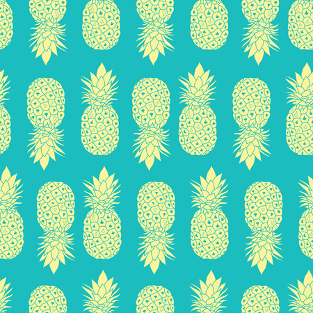 Fresh Blue Yellow Pineapples Geometric Vector Repeat Seamless Pattrern in Grey and Yellow Colors. Great for fabric, packaging, wallpaper, invitations. Ilustração