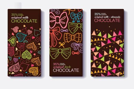 Vector Set Of Chocolate Bar Package Designs With Fun Party Decor Hearts, Bows, Flags Patterns. Milk, Dark, Almond. Editable Packaging Template Collection. Illustration