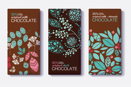 Vector Set Of Chocolate Bar Package Designs With Modern Plants and Leaves Patterns. Milk, Dark, Almond. Editable Packaging Template Collection.