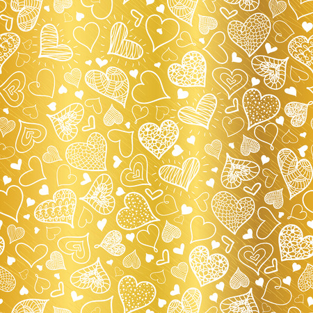 Vector Golden White Doodle Hearts Seamless Pattern Design Perfect for Valentine s Day cards, fabric, scrapbooking, wallpaper. Illustration