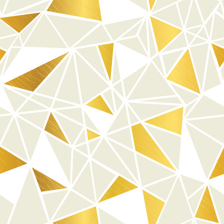 Vector Cream and Gold Foil Geometric Mosaic Triangles Repeat Seamless Pattern Background. Can Be Used For Fabric, Wallpaper, Stationery, Packaging.